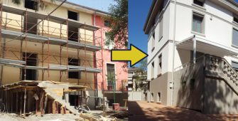 Prima e dopo la ristrutturazione di un edificio a Parma