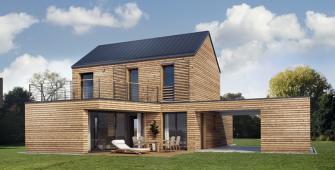Una casa costruita con pannelli di legno